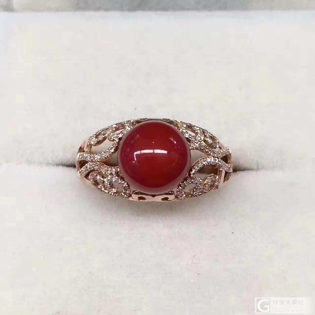 阿卡牛血红圆珠戒指18k玫瑰金镶嵌!圈口13号可改_珊瑚