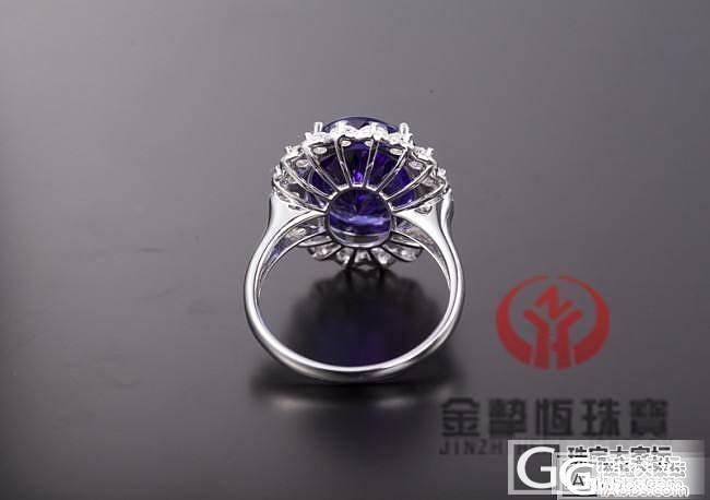 18K坦桑戒指镶嵌加工定制_金挚恒珠宝镶嵌