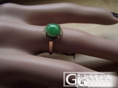 处理款18K玫瑰金伴钻镶嵌A翡翠满绿围钻戒指1900元_翡翠