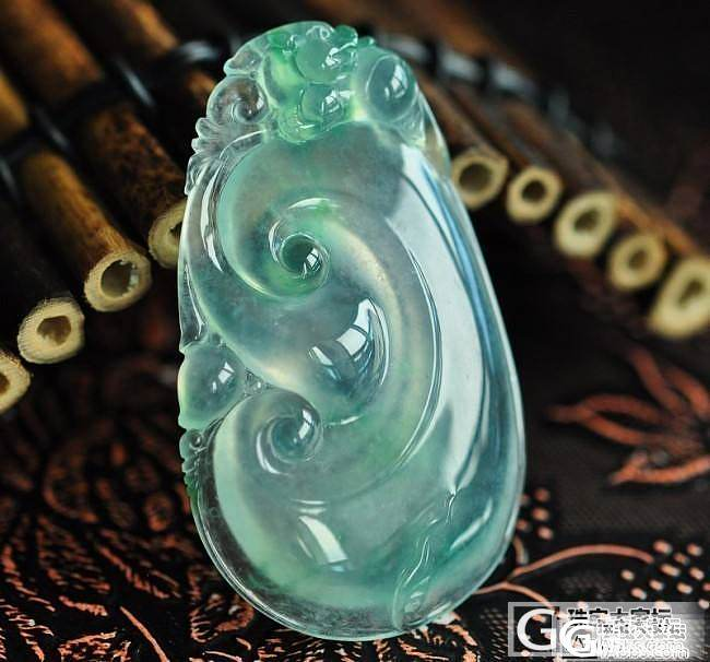 非常漂亮的飘绿冰如意_挂件翡翠双儿翡翠