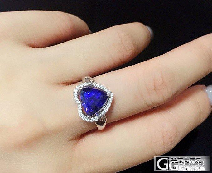 新做好的坦桑戒指,美美的_坦桑石刻面宝石