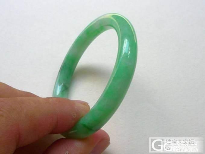 【韵玉阁】冰种紫罗兰蛋面一手 -阳绿圆条手镯 阳绿如意_翡翠