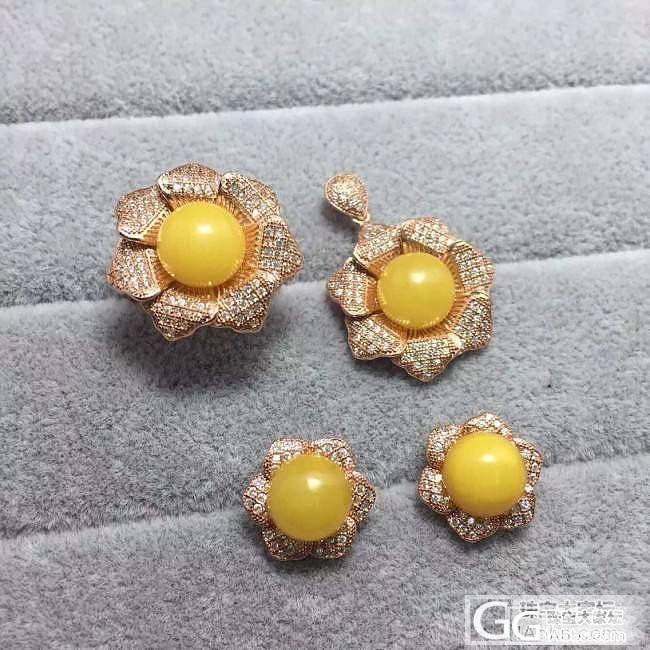 银镀金富贵花蜜蜡吊坠戒指耳钉三件套套装原价转让_珠宝