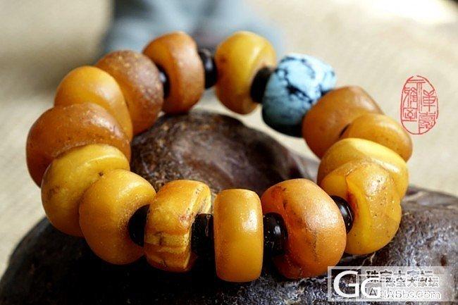 老蜜蜡饼子手串---很黄、很油、很暴力_珠串蜜蜡