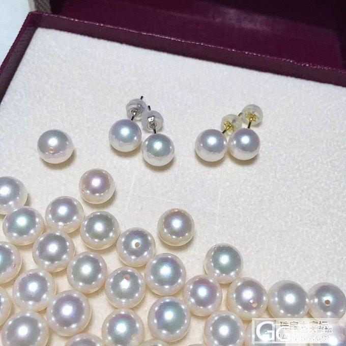 【牛牛珍珠】天然akoya珍珠18k金耳钉团起~_有机宝石