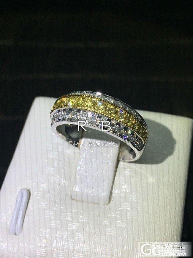 【瑞意邦珠宝】——黄钻相间白钻排戒指热款_瑞意邦珠宝