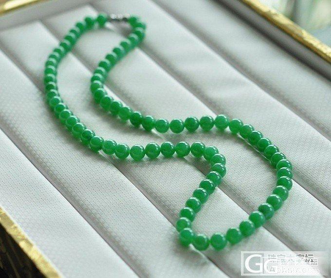 76颗冰糯种满绿珠链_项链翡翠双儿翡翠