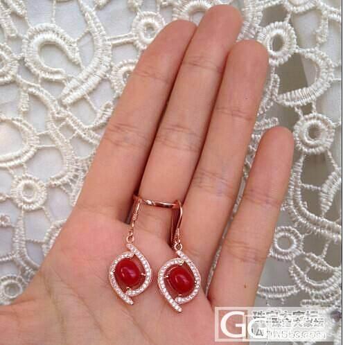 纯天然阿卡红珊瑚耳环 925银镀玫瑰..._有机宝石