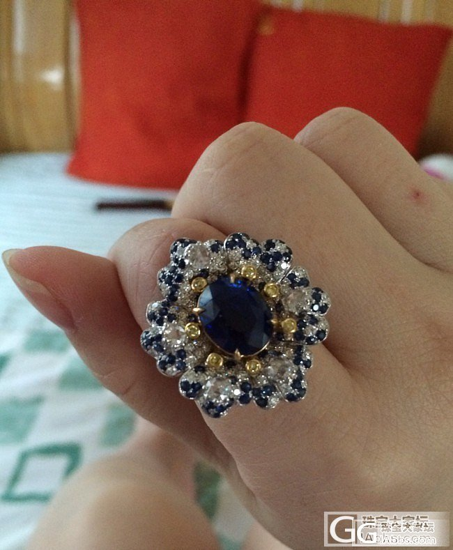 花开富贵 再攒一对耳环_刻面宝石蓝宝石