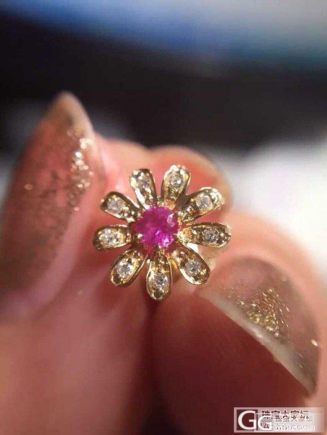 轻奢风的粉红蓝宝石耳钉,有点小,可以应该还不错吧?_耳钉蓝宝石
