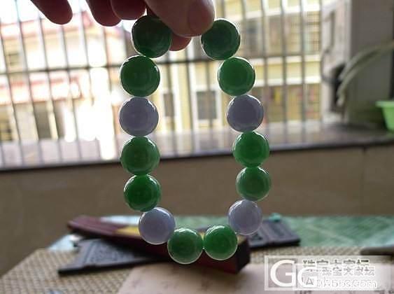 【广福珠宝】超漂亮的大珠子三彩手链,漂亮的紫罗兰手镯 ,满绿手镯_翡翠