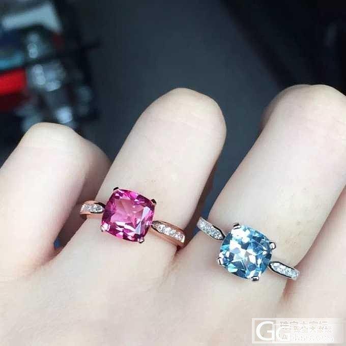 托帕石戒指,蓝色粉色不一样的美