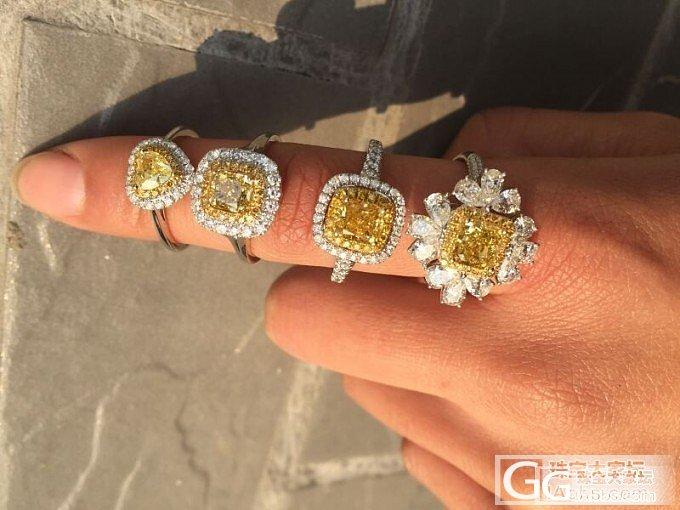 给客人定制的4支黄钻戒指~请大家欣赏~_镶嵌戒指异形钻