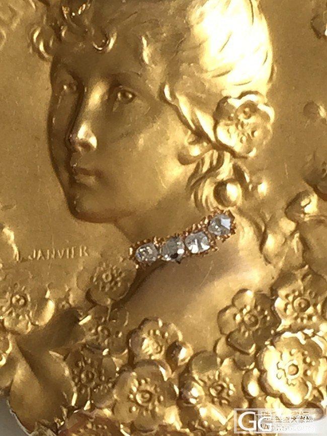 100多年前的法国美少女,精致的三维立体,镶嵌玫瑰切割钻石_古董首饰金