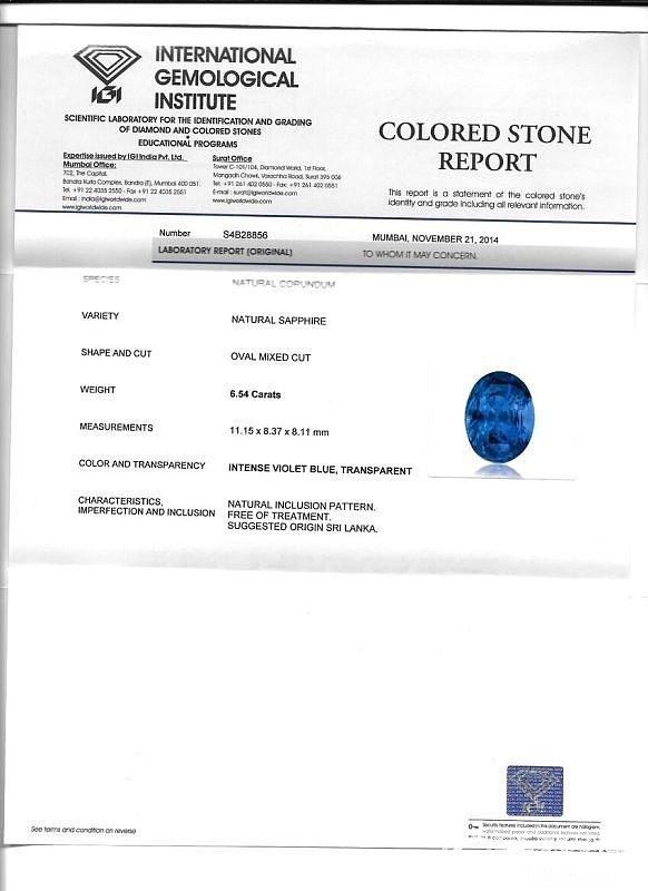 6.54克拉 IGI证书 intense voilet blue 蓝宝石 求指点_蓝宝石
