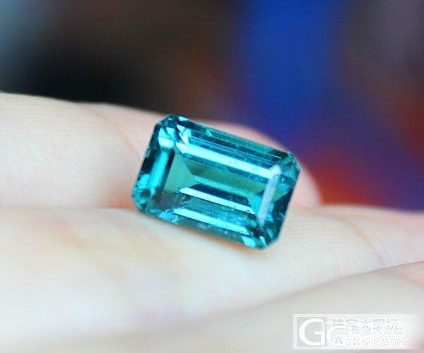 【彩石记】亮蓝色碧玺长方形戒面裸石_珠宝