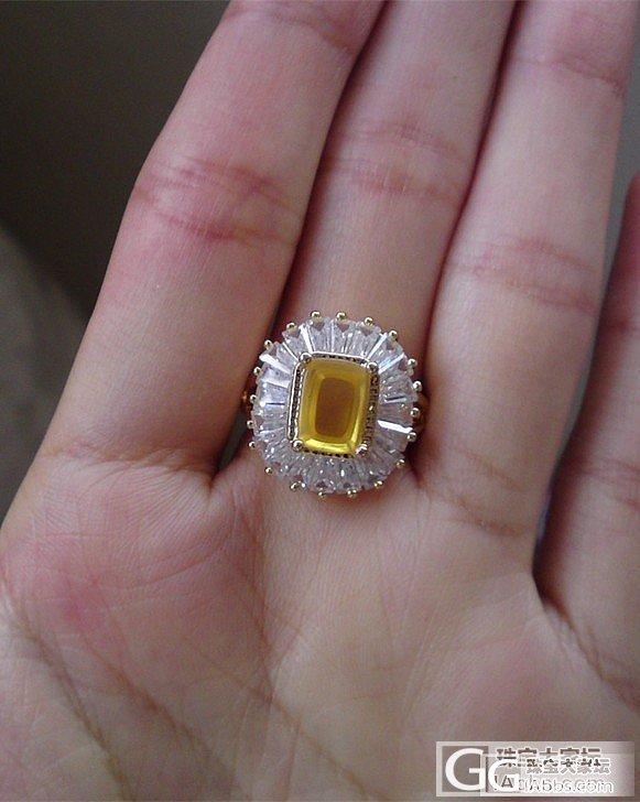 宫廷奢华 大 戒指 琥珀 金珀 戒指..._珠宝