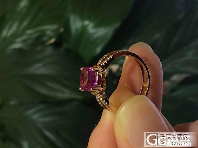 发一个少见的紫红碧玺戒指。_宝石