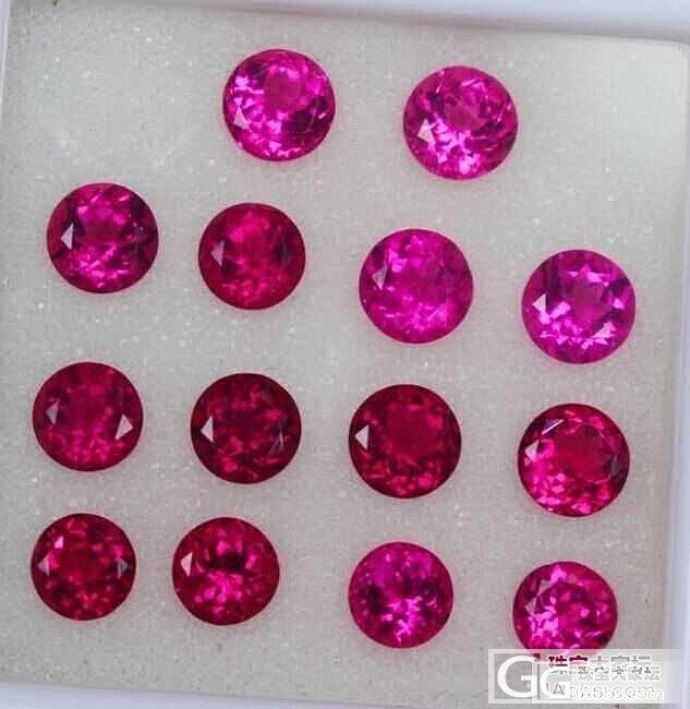 两批漂亮干净的卢比来红碧玺耳钉料  圆形  长方形_宝石