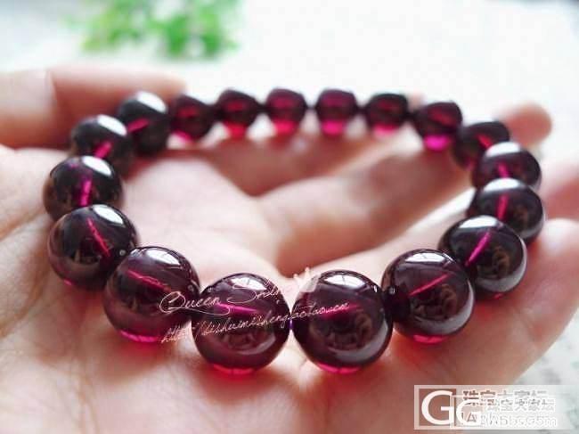 [QueenShine]罕见的玫红色石榴石大珠手链~10.5mm的珠径,高贵且显白哦!_宝石
