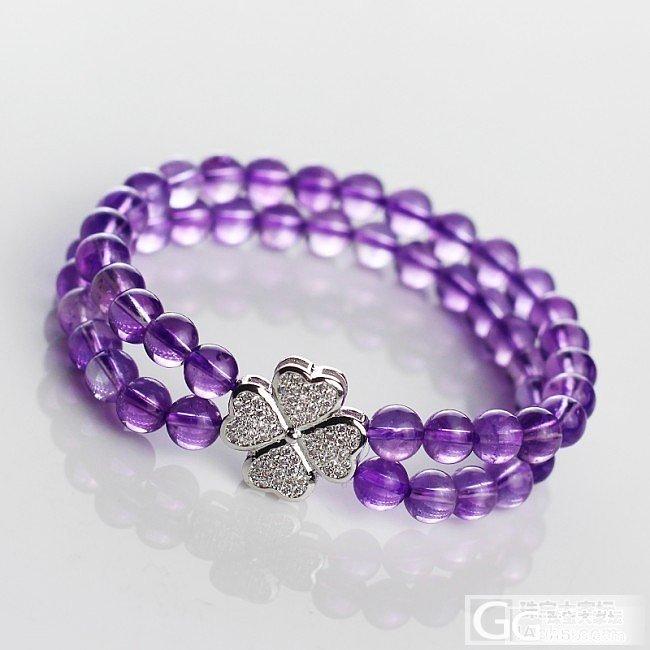 6m紫水晶四叶草双层手链_珠串紫水晶