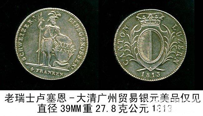 老瑞士卢塞恩-大清广州贸易银元美品仅见_银元