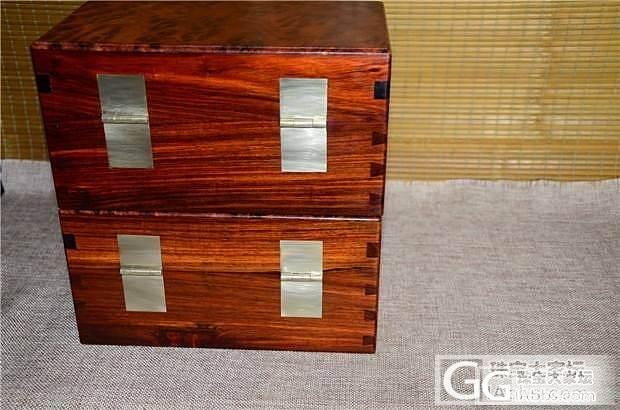 老红木文盒顶盖花梨廮大文盒一对(第2..._文玩