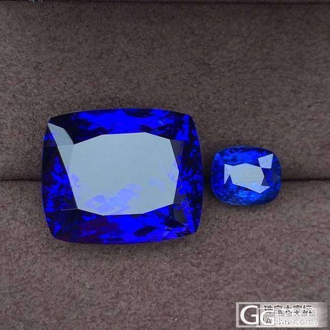 一颗大坦桑与一颗皇家蓝_刻面宝石蓝宝石坦桑石