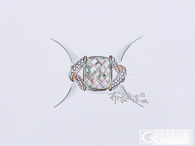 2015.5.8 碧玺戒指手绘及成品图分享!_布衣镶嵌