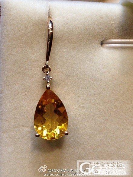 白兰地级别的黄水晶耳坠,甚是可爱啊,..._水晶