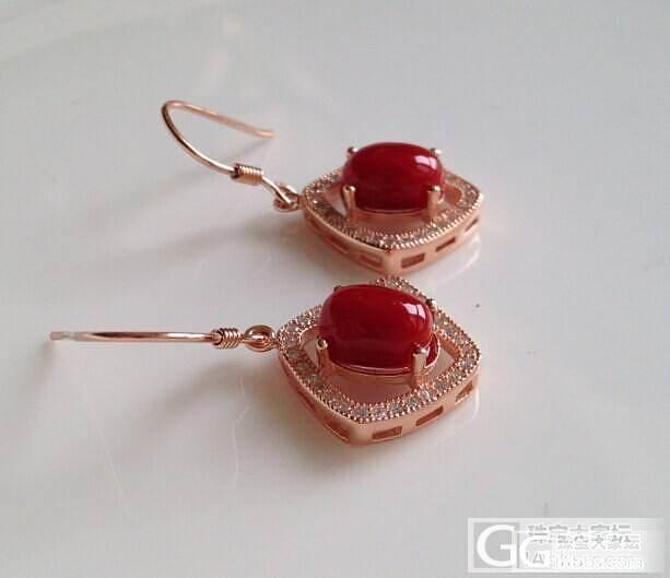 天然阿卡红珊瑚耳环 925银镀玫瑰金..._有机宝石