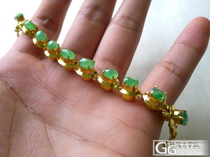 晒晒托铜好种蛋面手链,好种满绿蛋面五颗_珠宝
