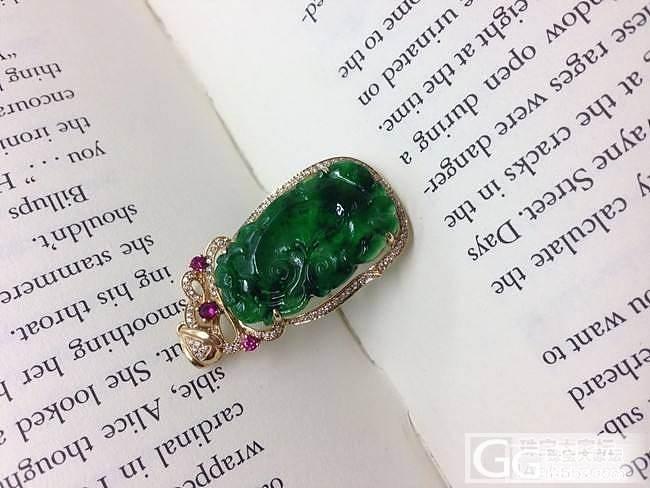 ★┋筆墨紫燕┋现代18K金镶钻石红宝冰种满绿翡翠福寿如意吊坠_翡翠