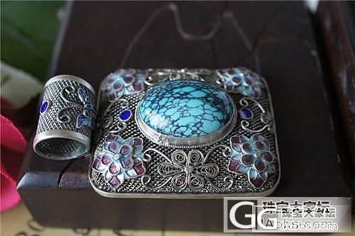珐琅掐丝 花丝镶嵌 景泰蓝 烧蓝 长形 大紫花 1409绿松石吊坠_珠宝