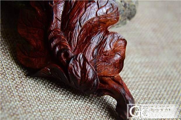 印度小叶紫檀全手工雕刻叶子把件(第4..._文玩