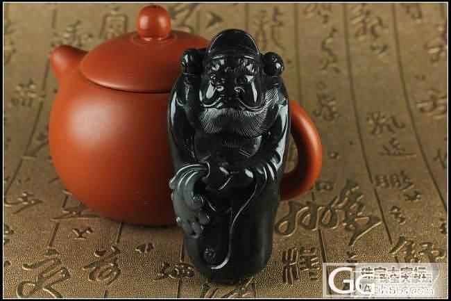 新疆和田玉墨玉钟馗籽料把件168g 黑度到位 1800元_传统玉石