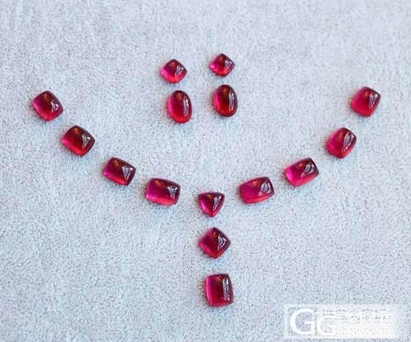 【彩石记】一套双桃红素面碧玺项链,耳坠戒面裸石_宝石