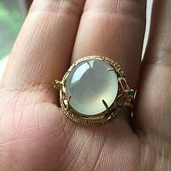 【满月】18K钻石老坑冰种起光翡翠大冰蛋戒指,气场十足A货有证书_小凤眼菩提