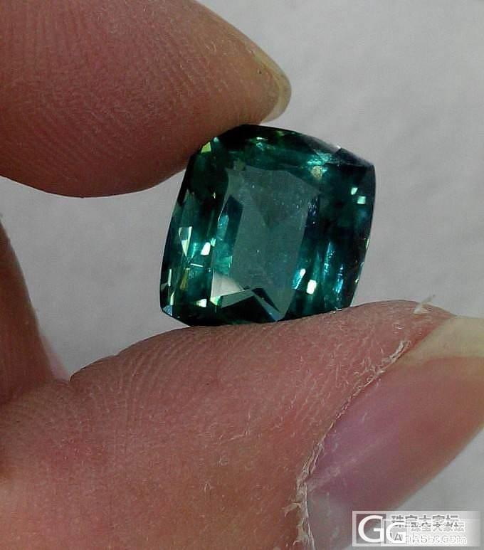 新进了颗蓝绿色碧玺戒面  7.5ct..._碧玺刻面宝石