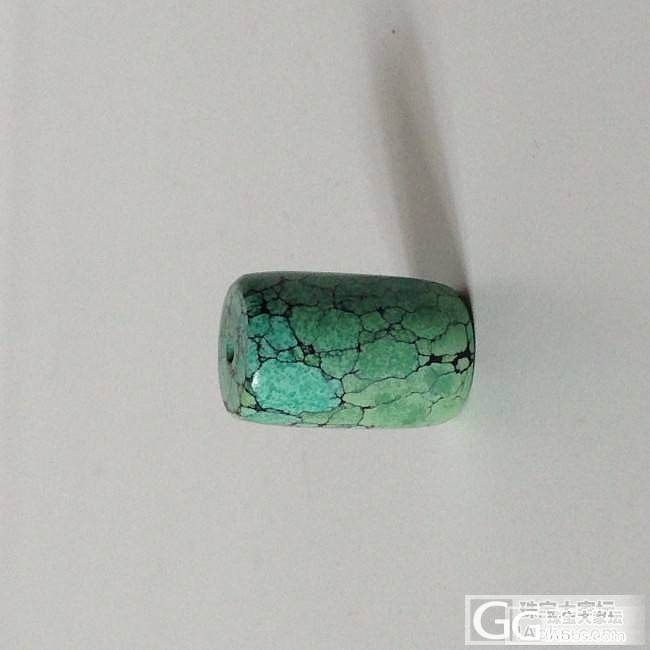 一枚高瓷网纹绿料桶珠_松石