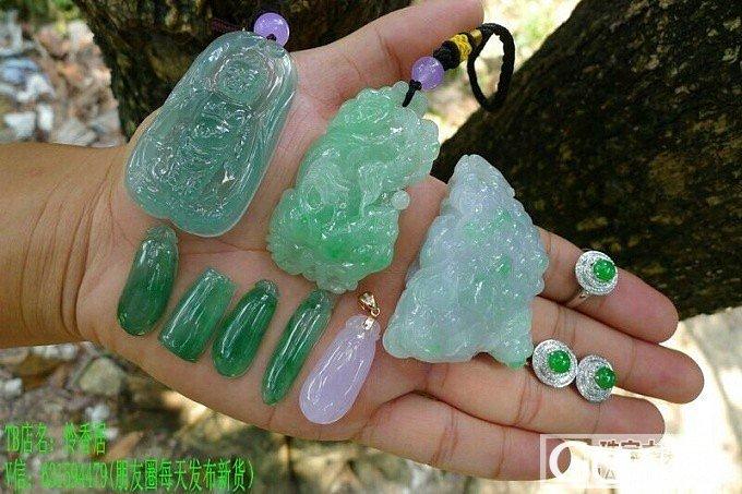 晴水宝宝佛、貔貅、福瓜、阳绿戒指及耳钉等_翡翠