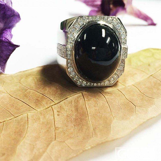 大气豪镶的黑翡翠旦面戒指!欢迎围观_工艺戒指蛋面翡翠