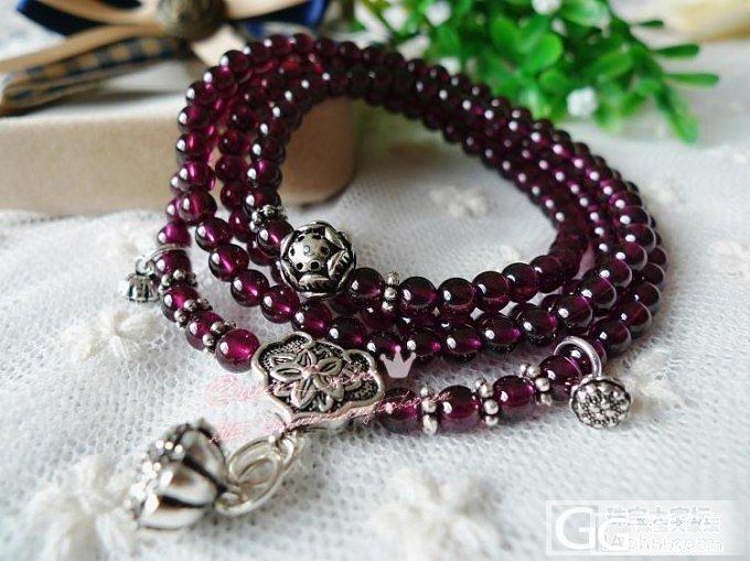超美枚红色小珠珠多圈手链~泰银的小莲..._宝石