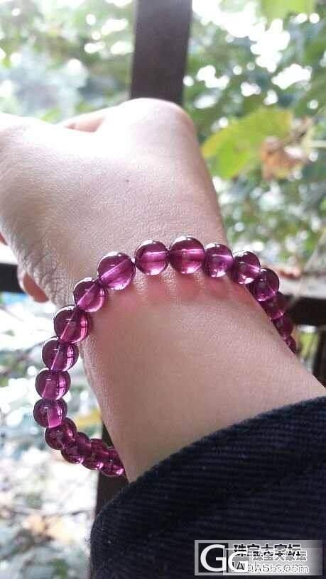 粉紫石榴到手拉,纯正粉紫哦_手链石榴石