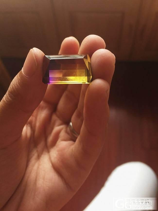 巴西带回来的渐变色水晶,紫色到黄色过渡,你们觉得怎么样_紫黄晶刻面宝石