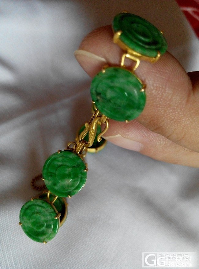 看看我的民国时期的翡翠金手链 还有翠锁_翡翠