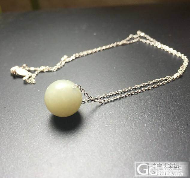 青白籽料圆珠925银锁骨链,60-70元_传统玉石