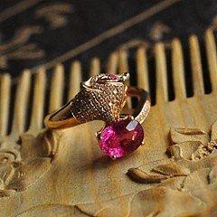 【媚】18K玫瑰金钻石娇媚小狐狸戒指,好火彩桃红艳丽碧玺 有证书_小凤眼菩提
