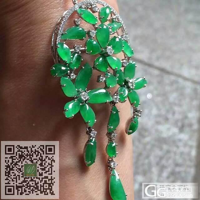 冰种阳绿大花吊坠 色好种好干净完美 镶嵌精致高品质_珠宝