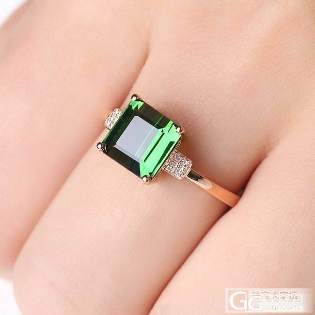 天然绿碧玺戒指_刻面宝石戒指碧玺